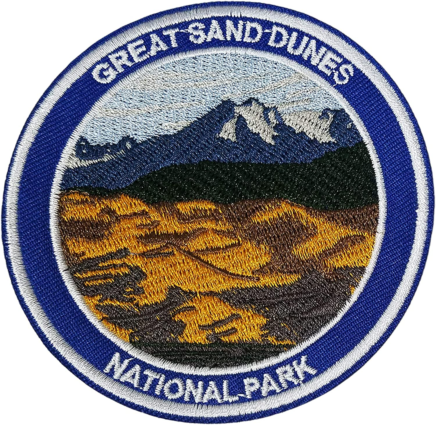 """Grand Sand Dunes National Park 3.5"""" Embroidered Patch DIY Iron or Sew-on Decorative Vacation Travel Souvenir Applique Wander Nature Wildlife Hike Trek Camping Explore Mountains Stars Moon Bear Wolf"""
