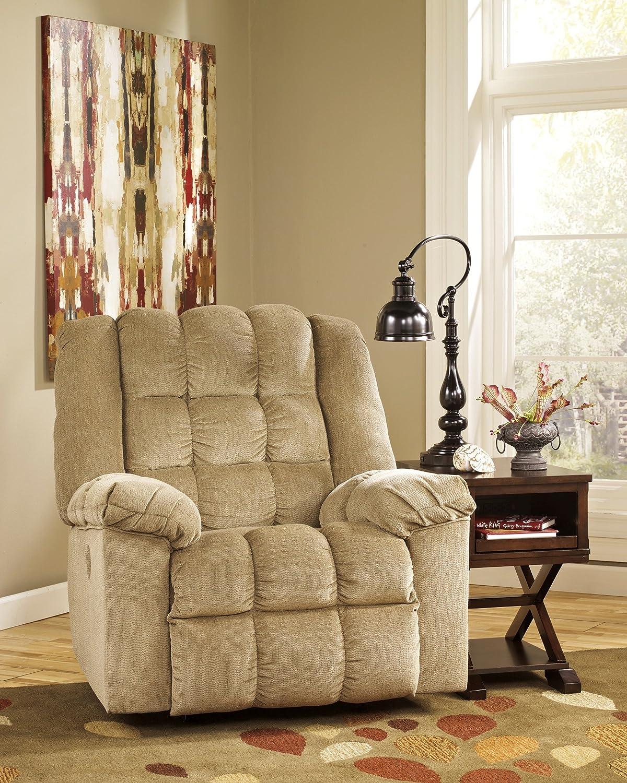 Amazon.com: Ashley Furniture Signature Design   Ludden Rocker Recliner   1  Pull Manual Reclining Sofa   Contemporary   Cocoa Brown: Kitchen U0026 Dining