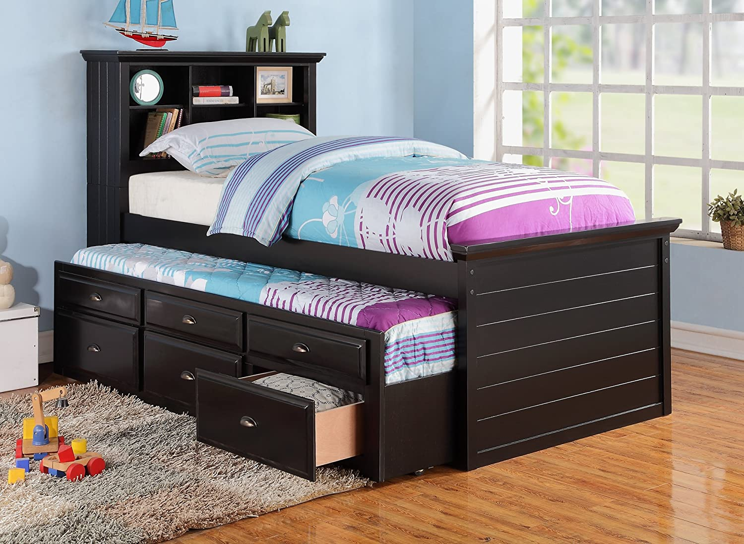 BLACK CAPTAIN TWIN BOOKCASE BED W-TRUNDLE BED AND 3 DRAWERS STORAGE