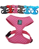 No Pull Small Dog - Pet Harness - Breathable Dotty Cotton Design - Range of Colours and Sizes (Small) (LSW Pet Design)