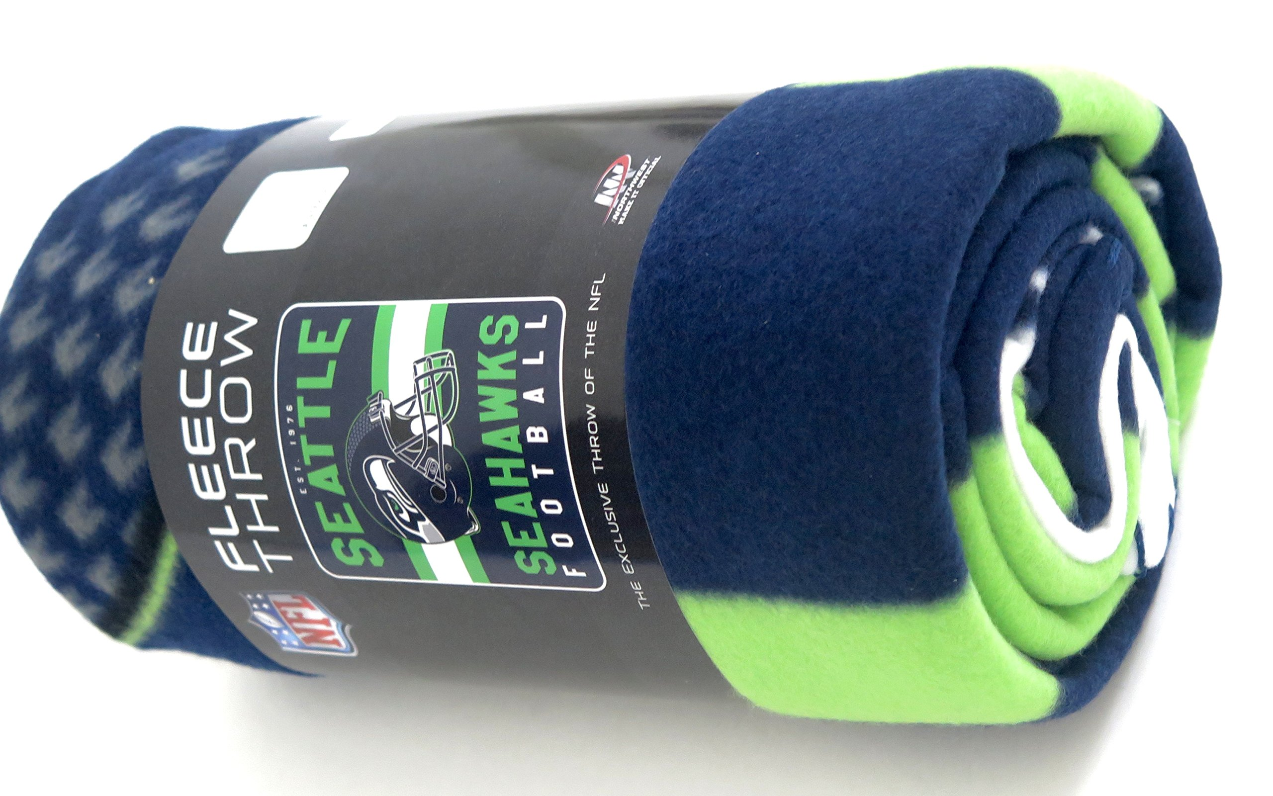 Seattle Seahawks Blanket. This soft fleece throw blanket will keep you warm at the game or ar home.