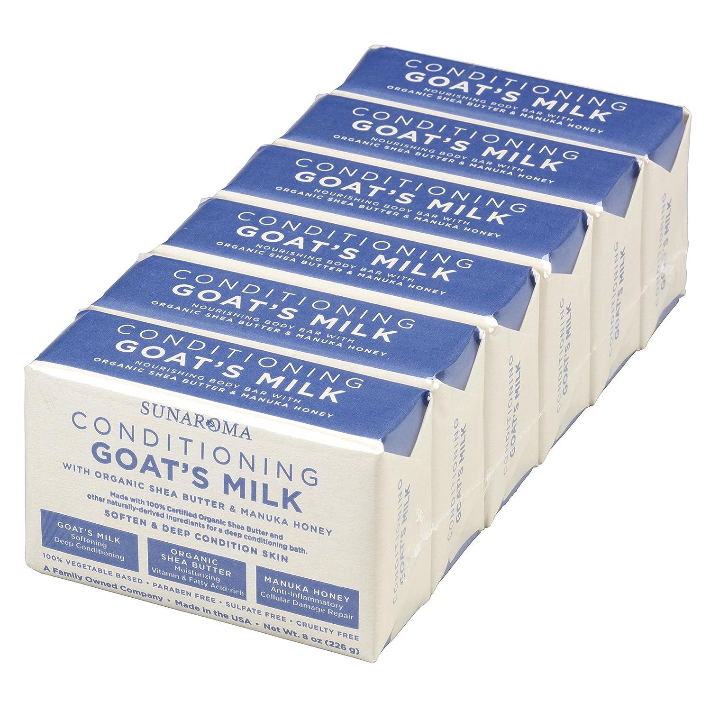 de9cae12e5 Amazon.com   Sunaroma Conditioning Goat s Milk Soap (6 count) - Natural  Soap Gently Softens and Exfoliates Skin - Shea Butter and Manuka Honey  Moisturize ...