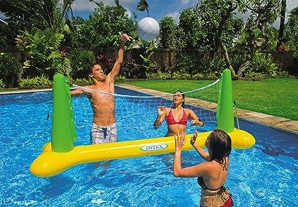 Amazon.com: Piscina voleibol red y bola con parche de ...