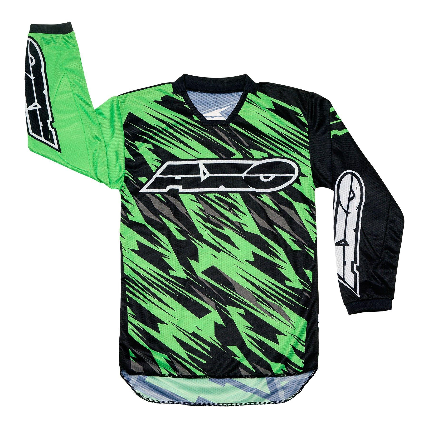 AXO Prodigy Junior Jersey (Black/Fluorescent Green, X-Large)