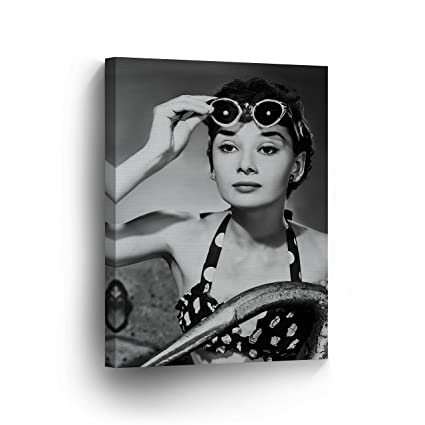 a7903aec05cdf Audrey Hepburn Wall Art CANVAS PRINT Beauty in Famous Sunglasses Black and  White Iconic Decoration Framed