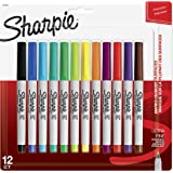 Sharpie Permanent Markers, Ultra-Fine Point, Assorted Colors, 12 Pack