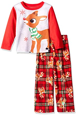 ab26b9280 Amazon.com  Rudolph Boys Red-Nosed Reindeer 2-Piece Fleece Pajama ...