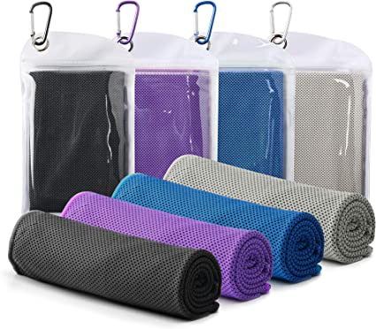 Soft /& Breathable 4 Packs Cooling Towel Ice Towel Chilly Microfiber Towel