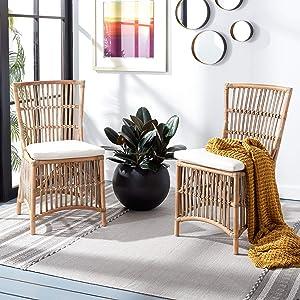 Safavieh Home Collection Erika Rattan Cushion (Set of 2) Accent Chair, Grey White Wash/White