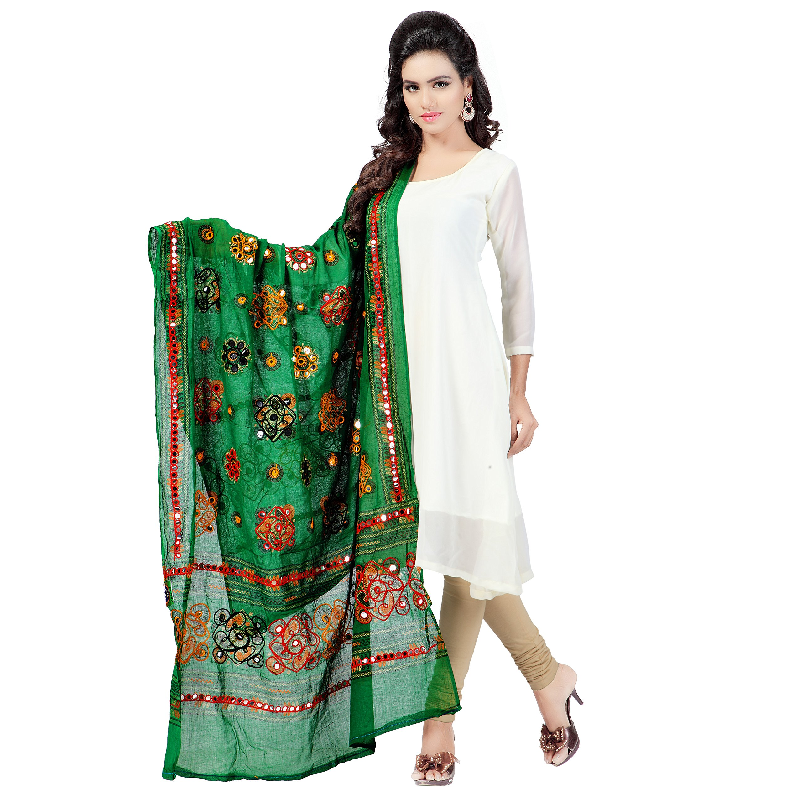 Banjara Women's Cotton Stoles & Dupattas Kutchi Chakachak Free Size Green