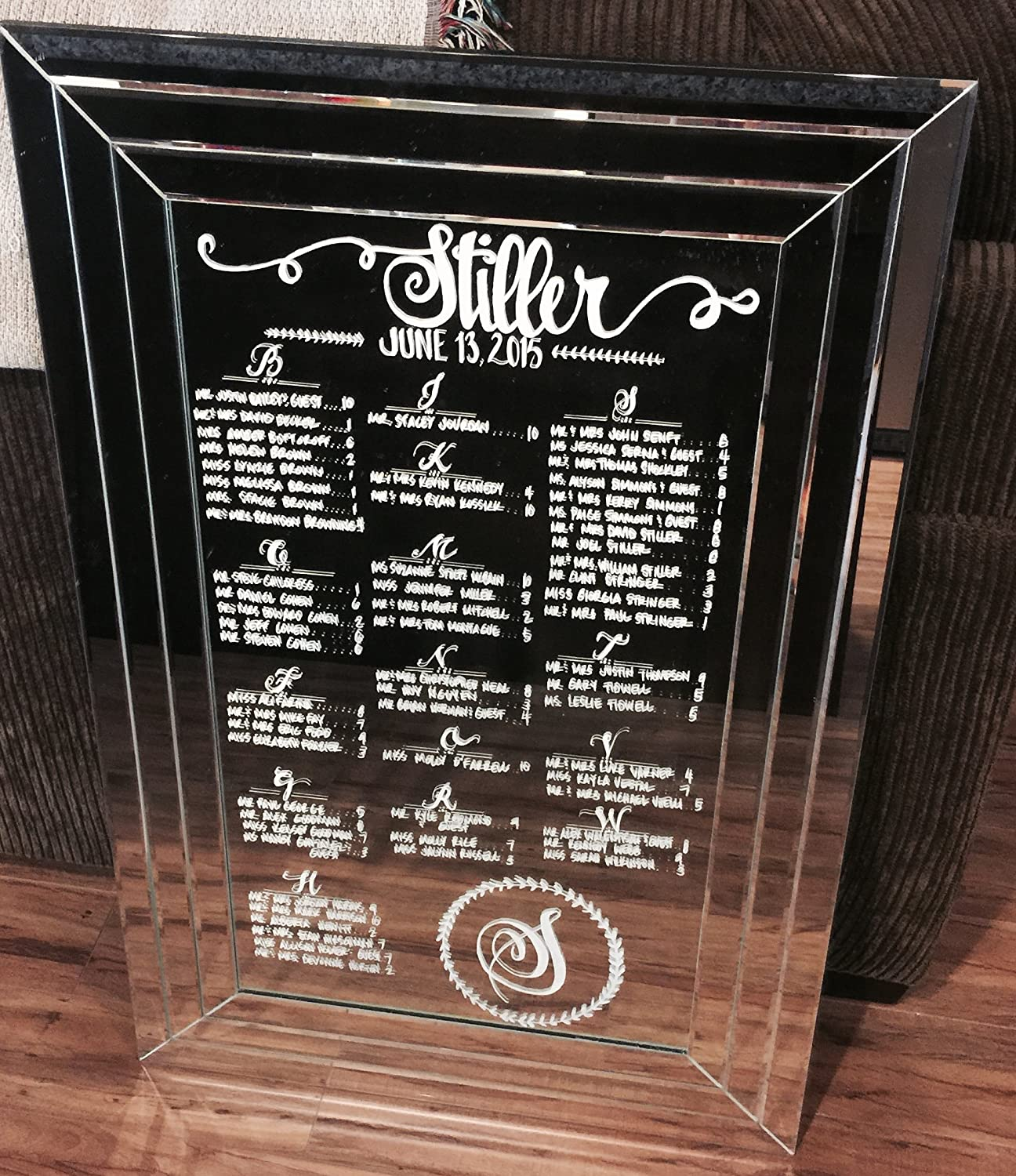 Frameless Mirror for Wedding Seating Charts 200 guests or less