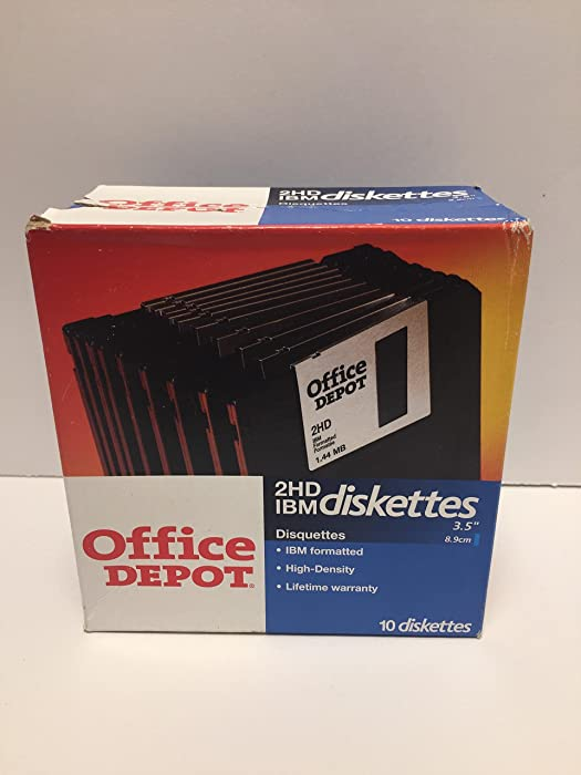 """Office Depot Brand 3.5"""" Diskettes, IBM Format, DS/HD, Black, Box of 10"""