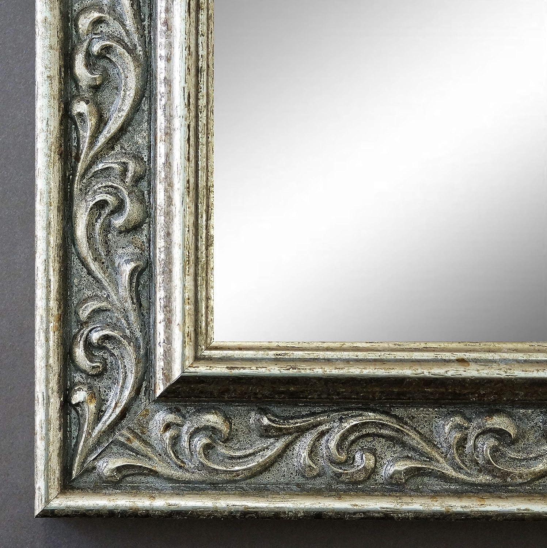 Online Galerie Bingold Spiegel Wandspiegel Badspiegel Flurspiegel Garderobenspiegel - Über 200 Größen - Verona Silber 4,4 - Außenmaß des Spiegels 20 x 80 - Wunschmaße auf Anfrage - Antik, Barock