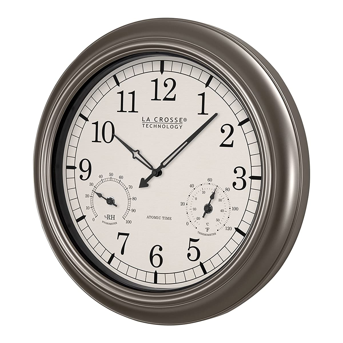 La Crosse Technology WT-3181PL-INT 18 inch Atomic Outdoor Clock with Temperature & Humidity