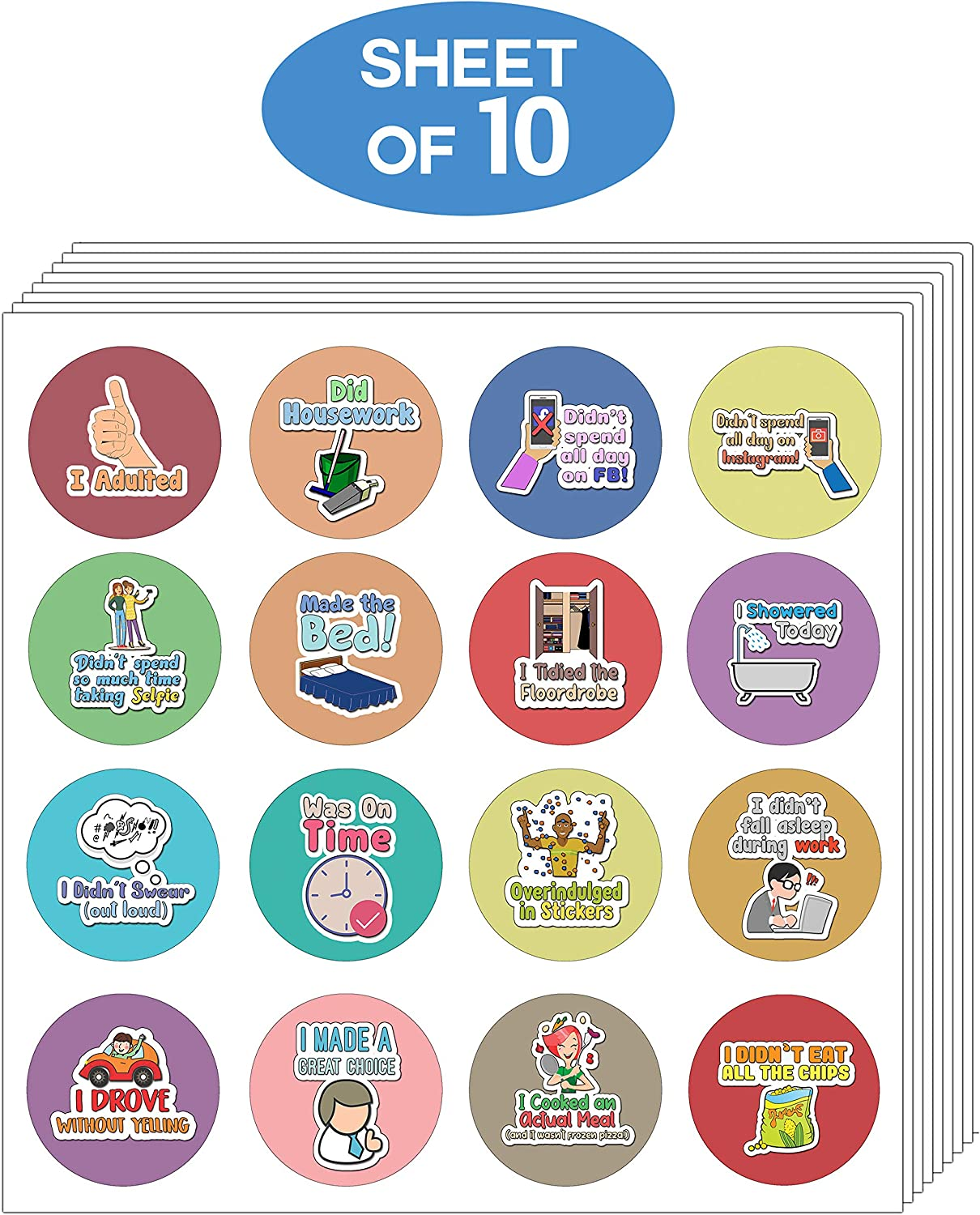 Creanoso Adulting Stickers for Women 10-Sheet Stocking Stuffers Party Favors /& Giveaways for Teens /& Adults Classroom Reward Incentives for Students - Assorted Designs for Females