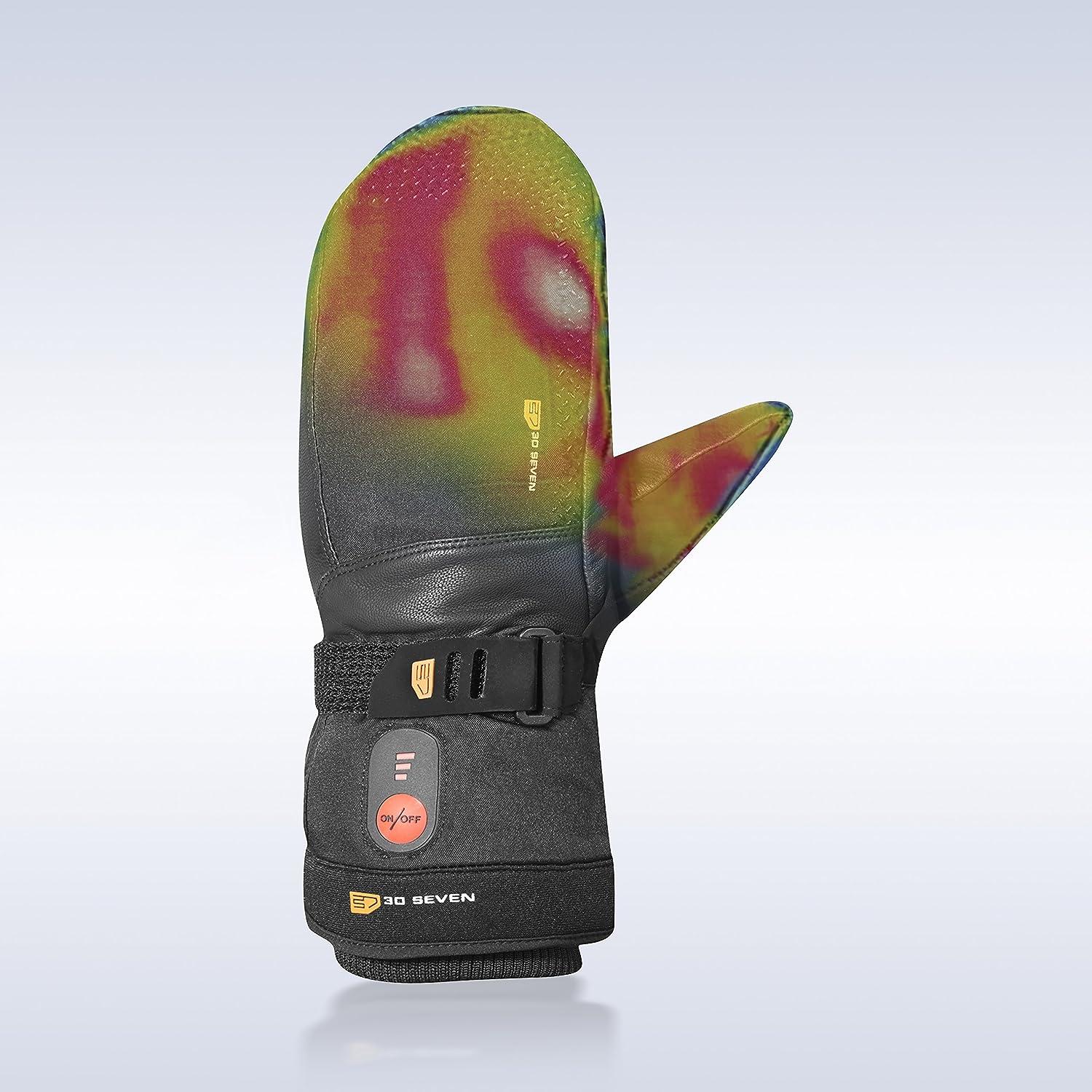 30seven beheizbare Ski-Handschuhe F/äustlinge mit Akku Snowboarden beheizte Fausthandschuhe f/ür Damen /& Herren//beheizbarer Winterhandschuh zum Skifahren Wintersport//wasserdicht // schwarz