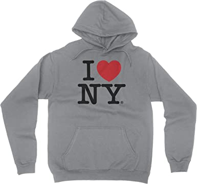 I Love NY New York Kids Hoodie Screen Print Heart Sweatshirt Gray