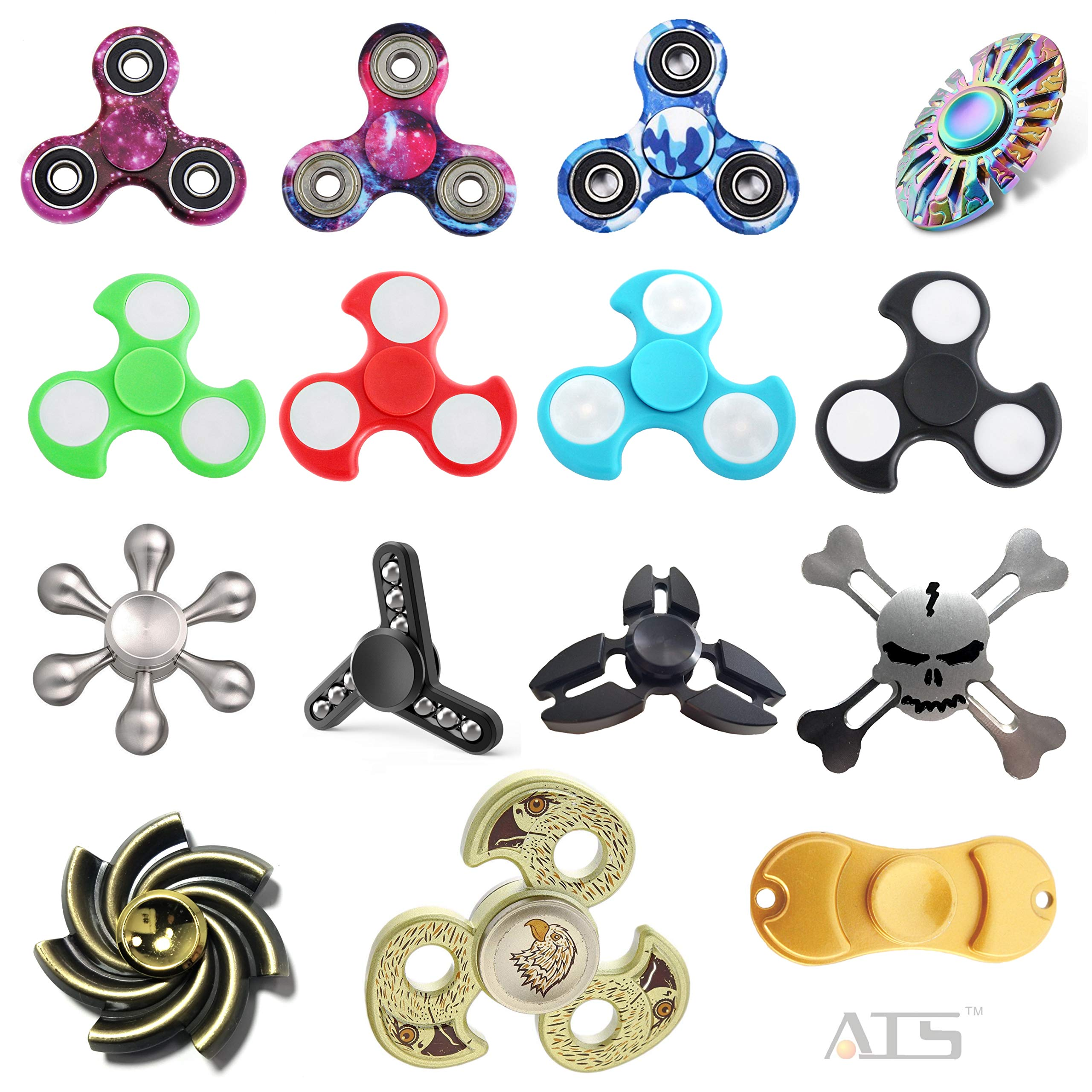 ATS 15-Pack Assorted Combo Fidget Spinners | Colors May Vary | 15 pcs Mixed Hand Spinners Bundle | Perfect Finger Toys for Stress Relief, Anxiety, Autism, ADHD | Great Present for Adults Kids by ATS (Image #1)