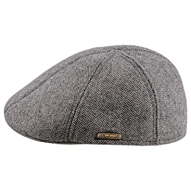 c8066777d26ed Sterkowski Warm Wool Blend Petersham Duckbill 6 Panel Flat Cap US 7 Light  Grey