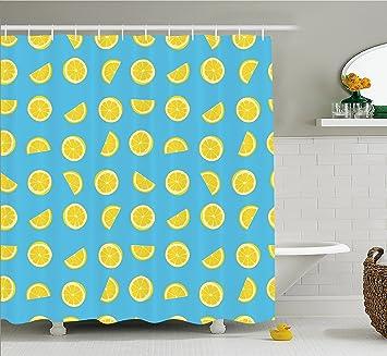 Gelb Und Blau Vorhang Fur Die Dusche Von Ambesonne Fresh Lemon