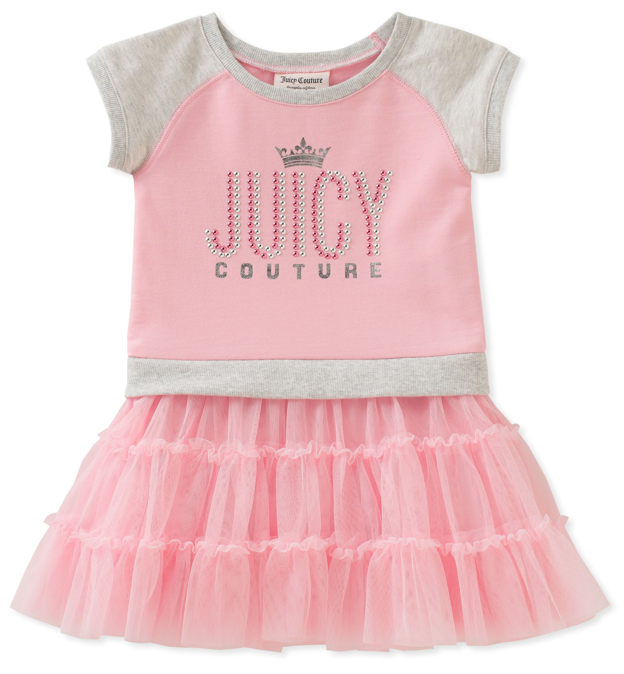 Juicy Couture Girls' Toddler Casual Dress, Pink/Gray, 3T