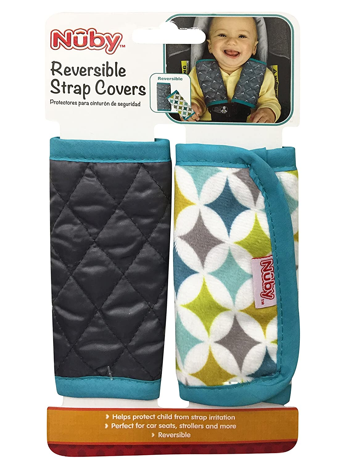 da8338e5913 Amazon.com  Nuby Car Seat Reversible Strap Covers 2 Pack, Green  Baby