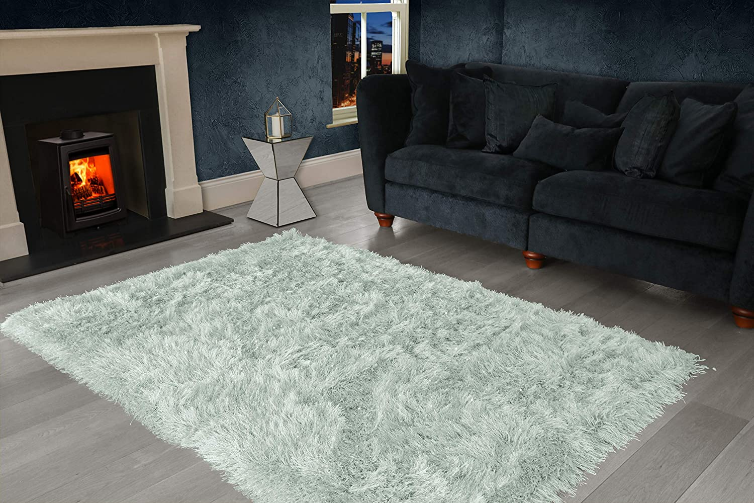 VICEROY BEDDING 9cm Extra Thick Dense Pile SHAGGY RUG with SPARKLE SHINE Strands - For Living Room Area Rugs - Modern Luxurious Super Soft Touch (Charcoal Black, 60cm x 110cm (2ft x 3.6ft))