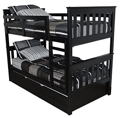 Amazon Com A L Furniture 3150bk Slat Mission Bunkbed Twin Over