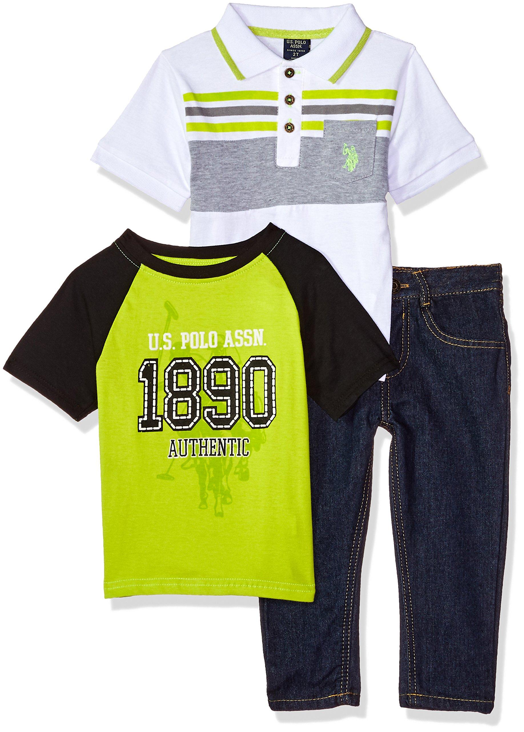 U.S. Polo Assn. Boys' Toddler, T-Shirt and Pant Set, neon Jersey el top Lime, 4T