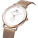 Welly Merck Women's Watch Swiss Quartz Waterproof Luxury Minimalist Wrist Watch with Milanese Interchangeable Strap, Sapphire Crtystal
