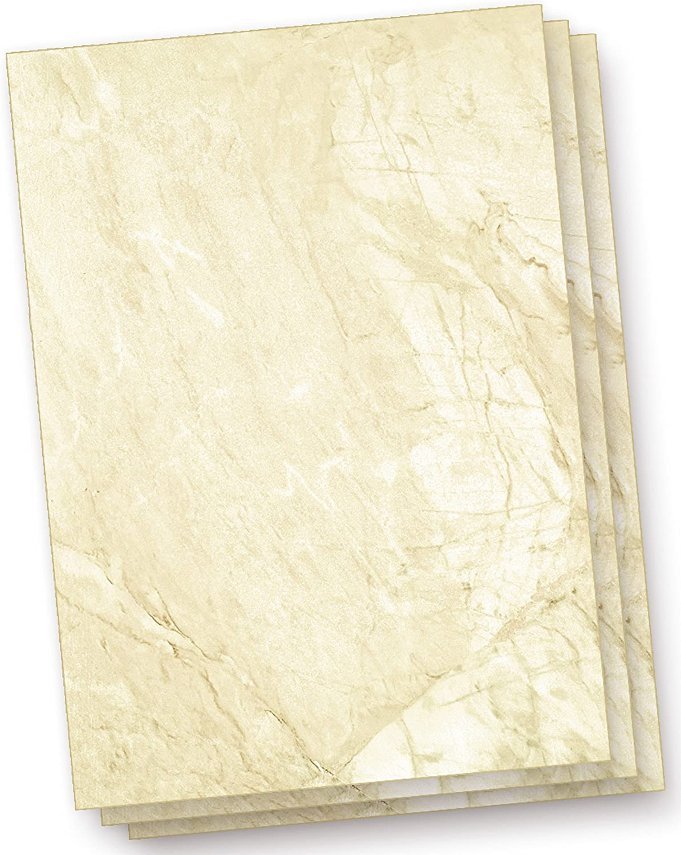 10 Sets inkl. C6 Briefpapier Set Marmor beidseitig marmoriert Umschl/äge C6 DIN A4 inkl