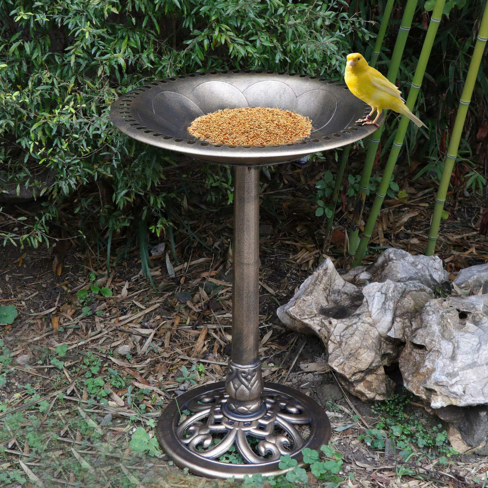 MATAS 28Inch Birdbath Height Pedestal Bird Bath Antique Outdoor Garden Decor Vintage