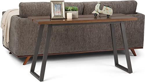 Simpli Home AXCADR-03 Adler Solid Wood and Metal 54 inch Wide Modern Industrial Console Sofa Table in Light Walnut Brown