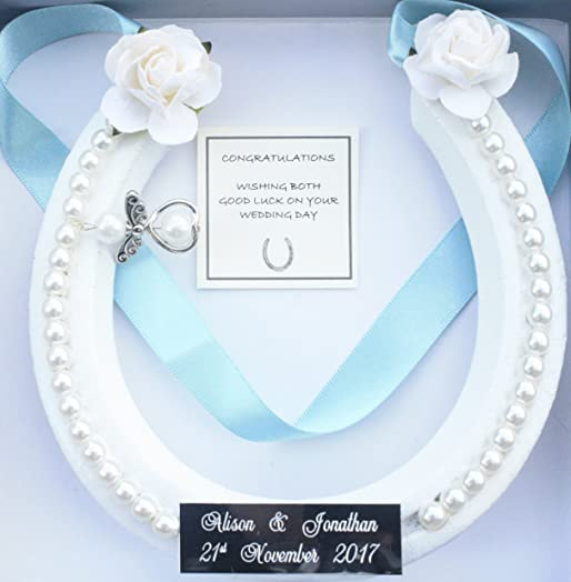 PERSONALISED Lucky HorseShoe Real Bridal Wedding Gift Silver Sparkle White Or Ivory GUARDIAN ANGEL