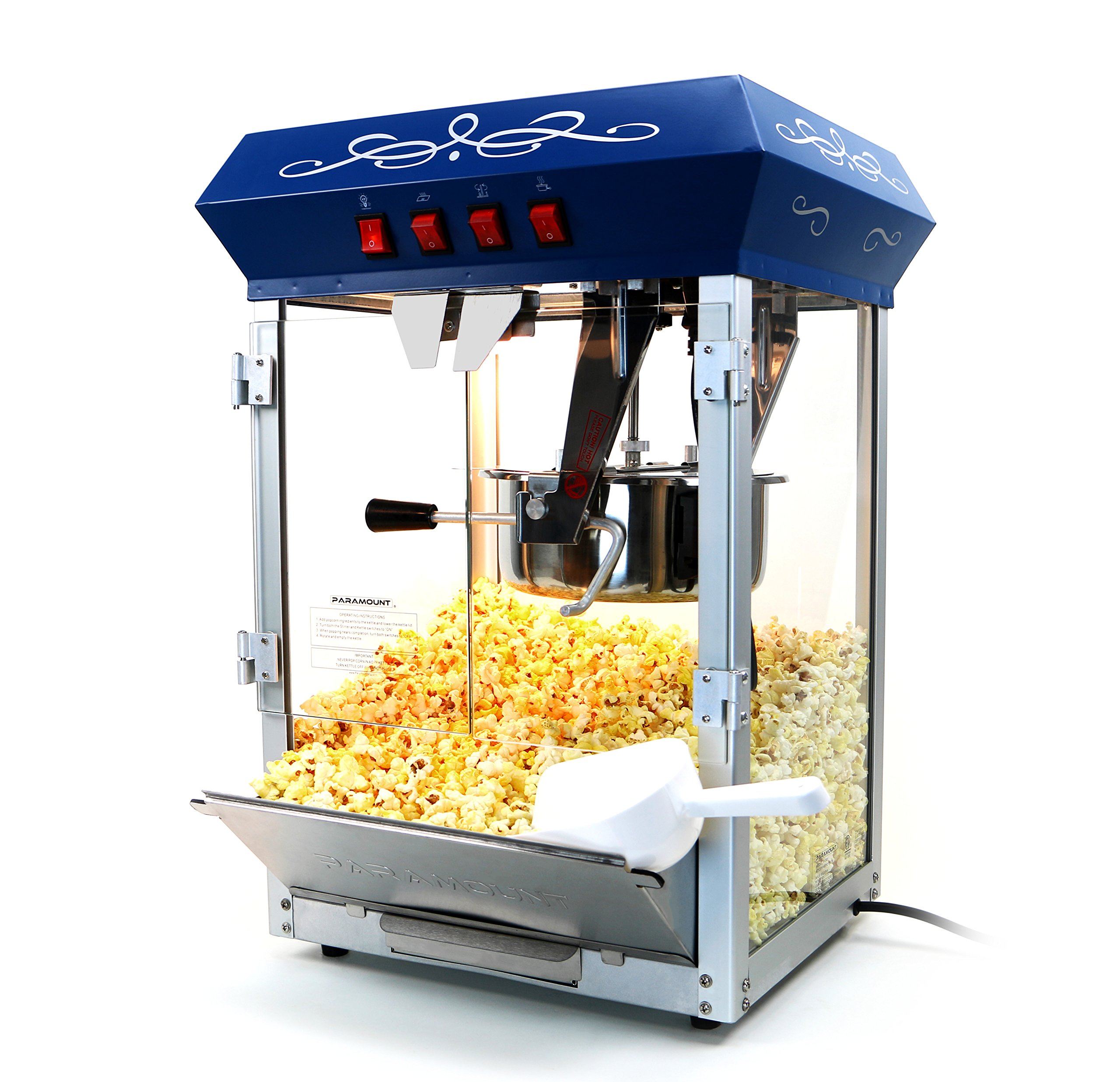 Paramount 8oz Popcorn Maker Machine - New Upgraded Feature-Rich 8 oz Hot Oil Popper [Color: Blue]