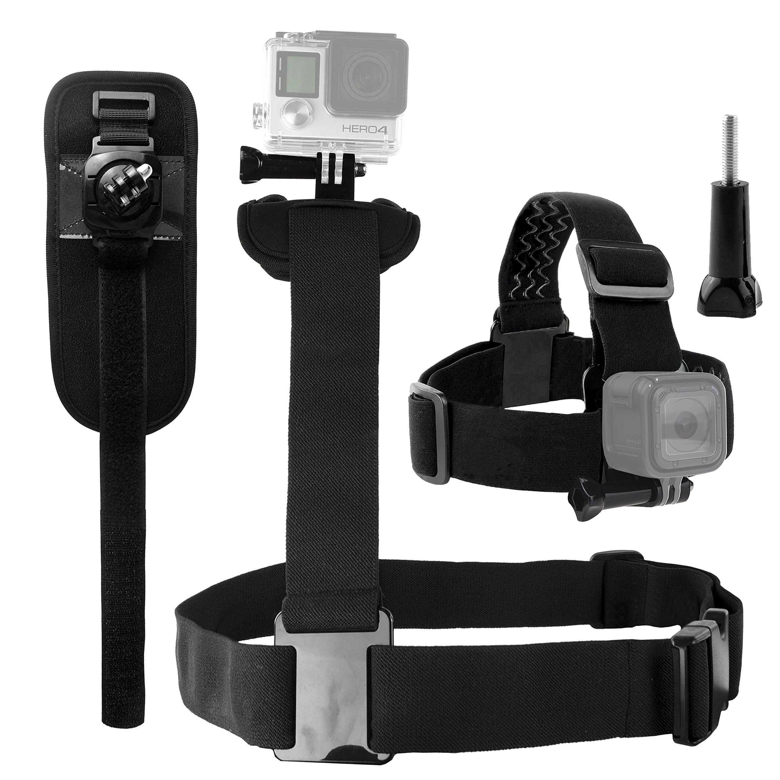 CamKix replacement Body Mount Bundle compatible with Gopro Hero 6, 5, Black, Session, Hero 4, Session, Black, Silver, Hero+ LCD, 3+, 3, 2, 1 – Shoulder Harness/Head Strap/Rotating Wrist Mount