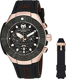 Technomarine Mens Black Reef Swiss Quartz Stainless Steel Casual Watch (Model: TM
