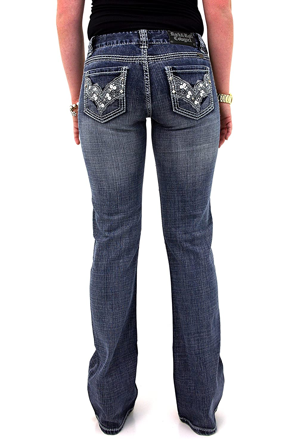 Rock and Roll Cowgirl W1-3694 Mid Rise Bootcut Denim