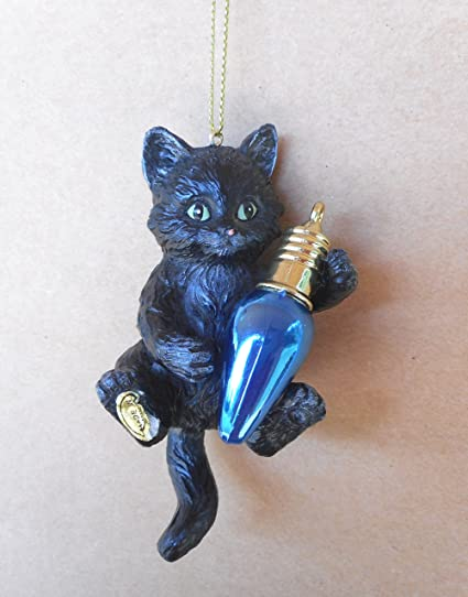 black kitten playing with blue bulb cat christmas tree ornament - Black Cat Christmas Ornament