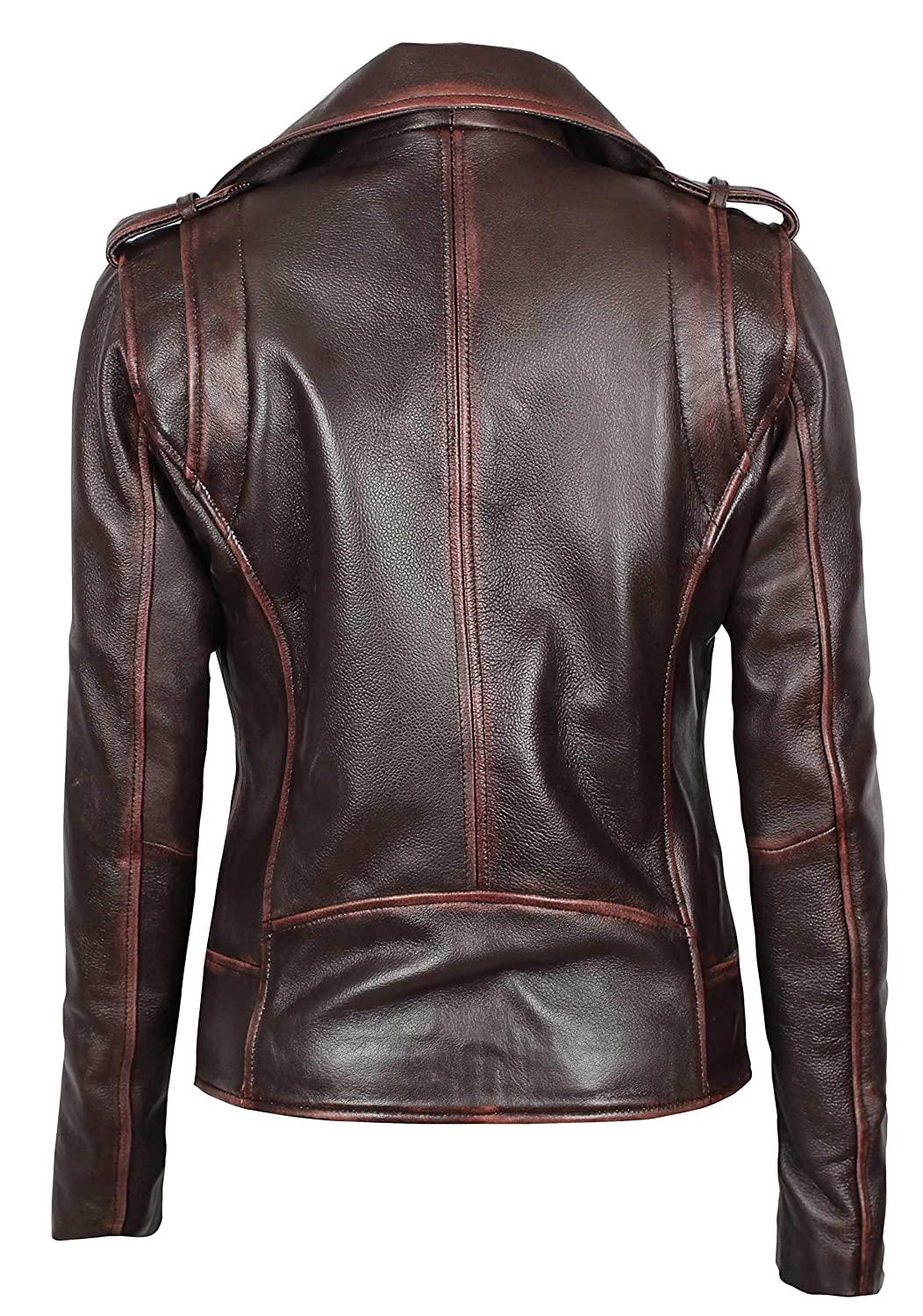 Decrum Womens Lambskin Leather Jacket Asymmetrical Real Leather Jackets for Women