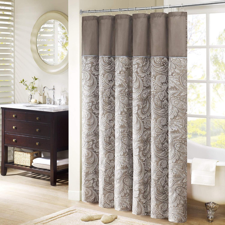"Madison Park Aubrey Shower Curtain Paisley Jacquard Pieced Microfiber Faux Silk Modern Home Bathroom Decorations Bathtub Privacy Screen, 72"" x 72"", Blue Blue 72 Inches x 72 Inches"