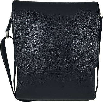 7cb24e5f04 Amazon.com  Zavelio Men s Genuine Leather Medium Cross Body Small Shoulder  Messenger Bag Black  ZAVELIO