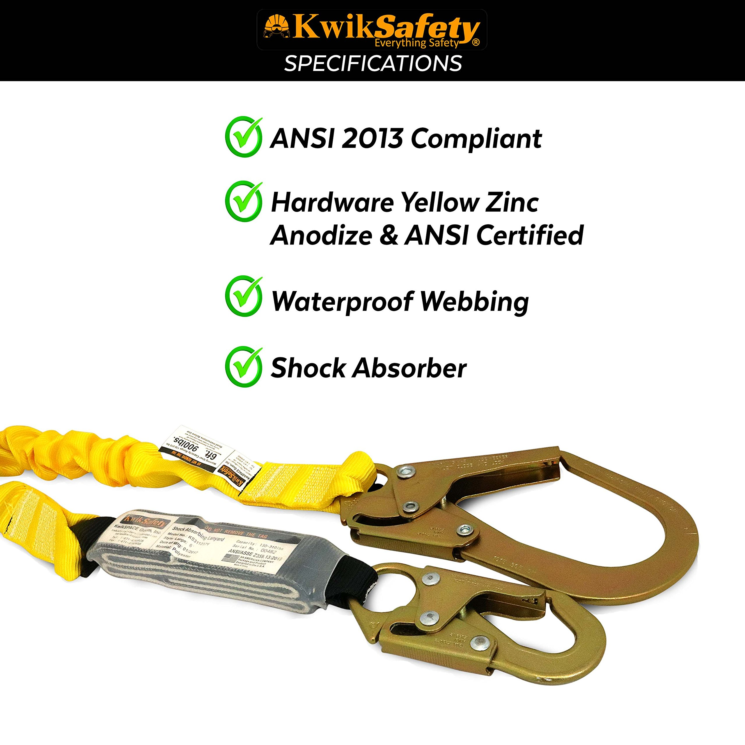 KwikSafety (Charlotte, NC) BOA 4 PACK (External Shock Absorber) Single Leg 6ft Safety Lanyard OSHA ANSI Fall Protection Restraint Equipment Snap Rebar Hook Connectors Construction Arborist Roofing by KwikSafety (Image #5)