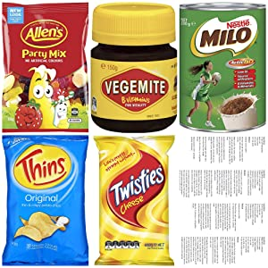 Bundle - Australian Gift Box Snacks Food Vegemite Milo Cheese Twisties Party Mix Candy Thins Chips Recipes