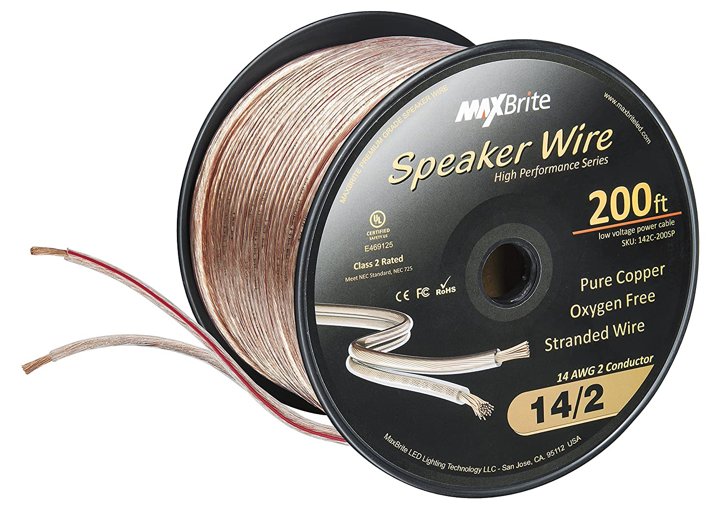 Amazon.com: High Performance 14 Gauge Speaker Wire, Oxygen Free Pure ...