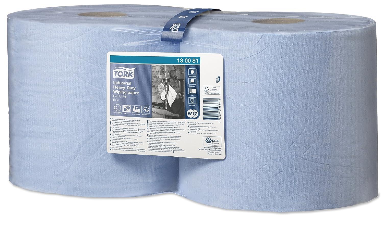 Tork 130080 Carta ultraresistente per asciugatura industriale QuickDryPremium, compatibile con il sistema W1 (da terra o da parete), 3 veli, 1 conf. x 1 rotolo (1 x 255 m), colore blu