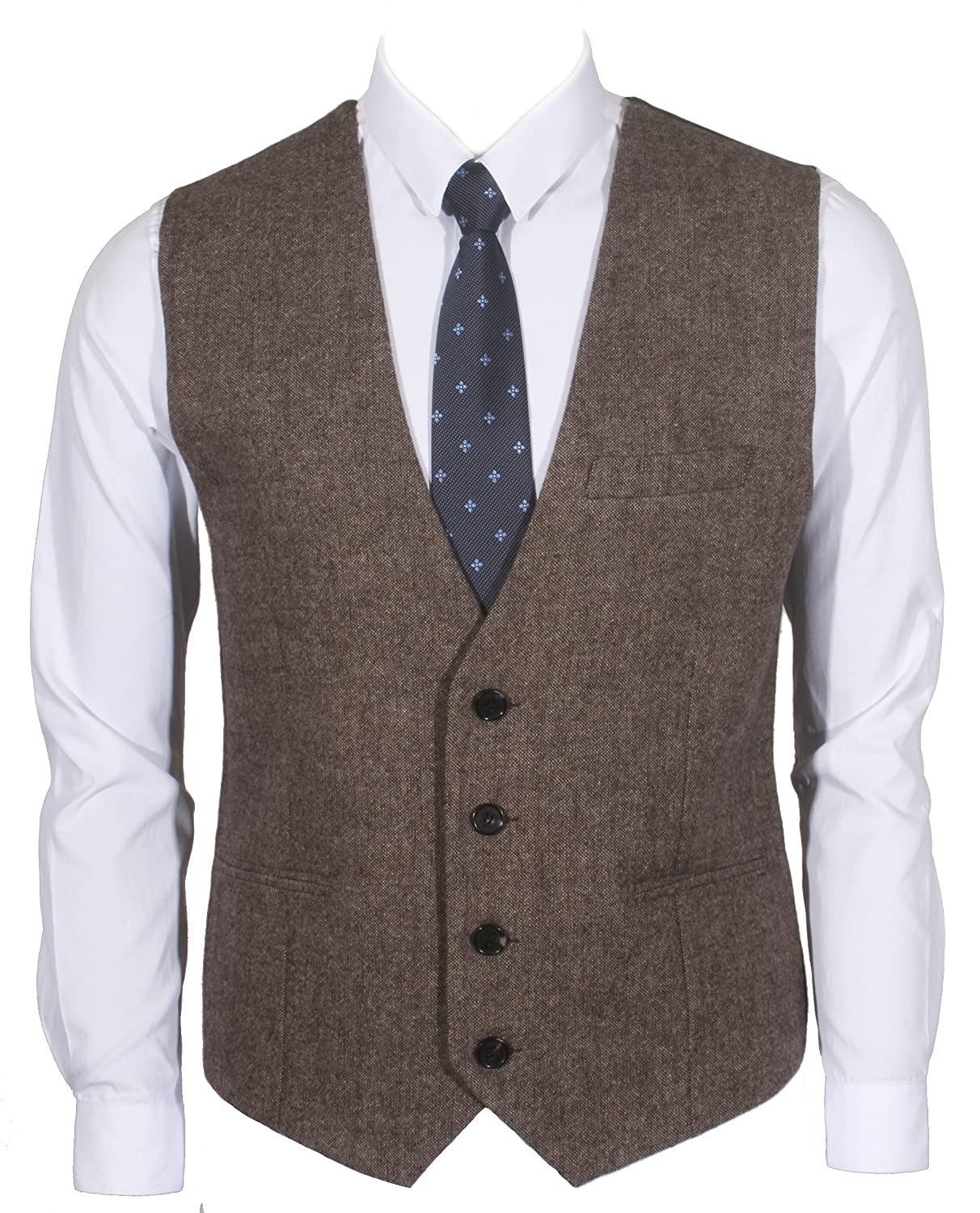 Ruth&Boaz 3Pockets 4Buttons Wool Herringbone Tweed Business Suit Vest