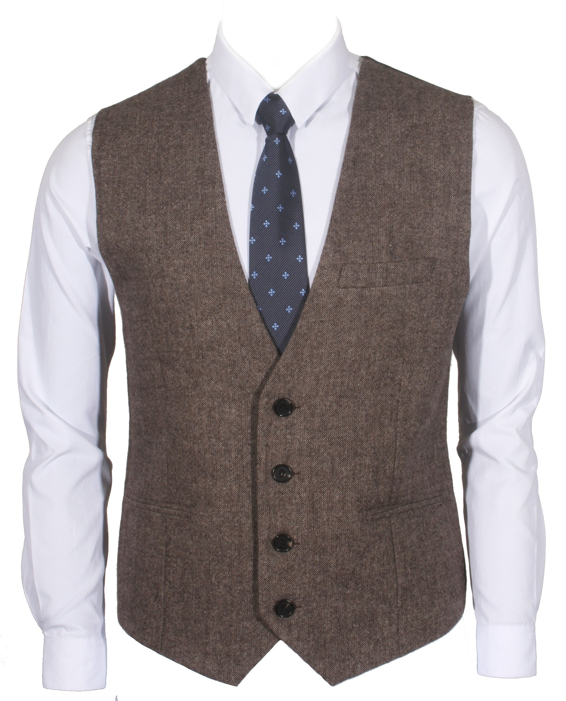 Ruth&Boaz 3Pockets 4Buttons Wool Herringbone / Tweed Business Suit Vest (L, Tweed Brown)