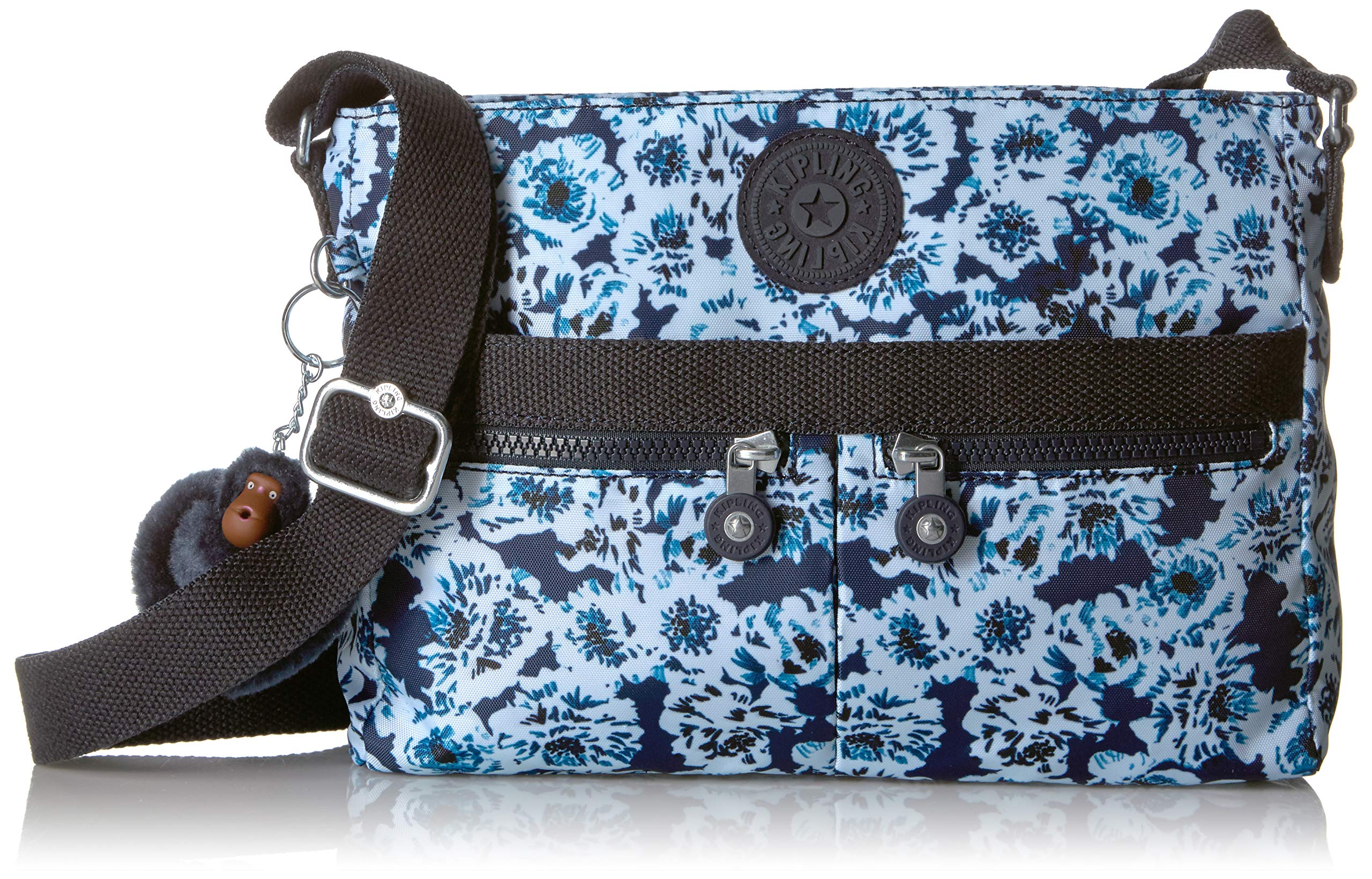 Kipling Women's Angie Crossbody Bag, Adjustable Shoulder Strap, Zip Closure, roaming roses