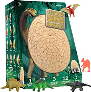 Jumbo Dino Egg Dig Kit - Break Open The Giant Egg and Discover 12 Cute Dinosaurs - Dinosaur Toys Archeology Science STEM Kids - Best Crafts Gifts for Boys and Girls Age 3, 4, 5, 6, 7